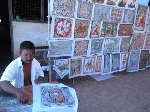 There were hundreds of intricate hand painted fabrics.