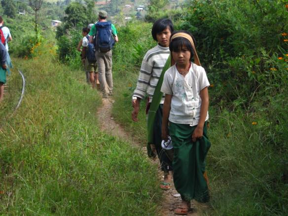 Children walking home from school