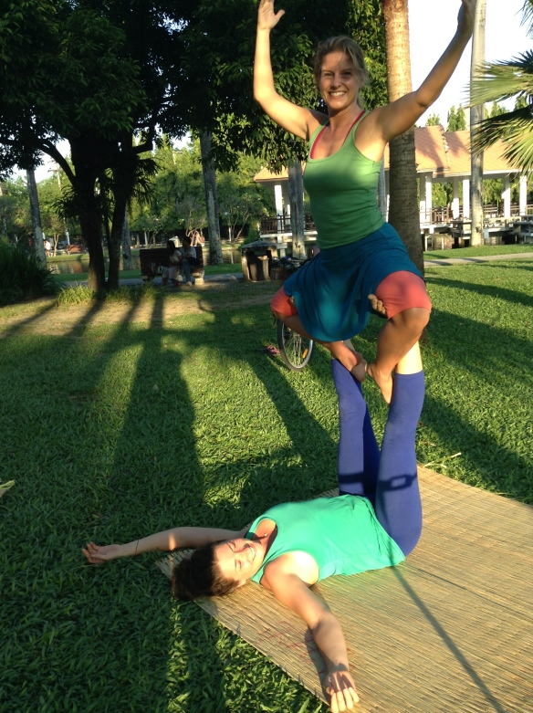 Acroyoga in the park with Emily