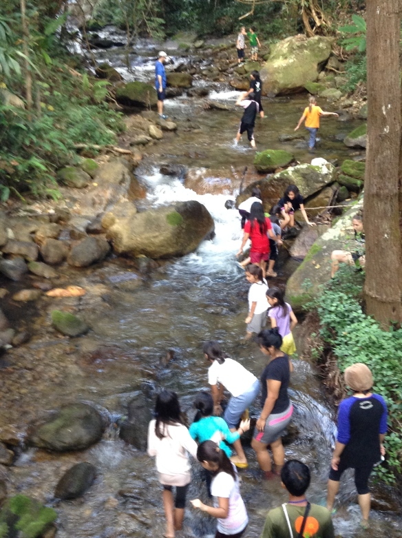 Taking the students hiking and playing in the river at our Doi Inthanon overnight field trip.