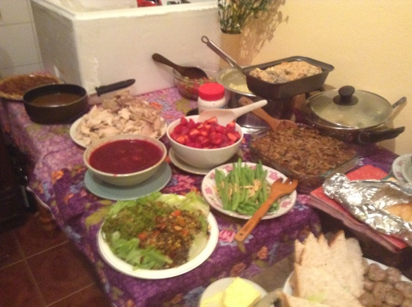I had about 30 people to my house for Thanksgiving dinner. This is only a small part of the feast.