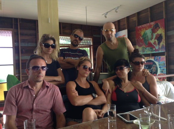 Silly breakfast shot at Good Morning Chiang Mai with Joe, Zsa Zsa, Johnny, Rose, Lorenzo, and Emily.