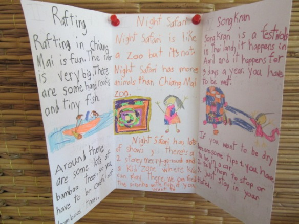 Starting the new school year in May, my students wrote brochures on what they like to do in Chiang Mai province. This student gives clever tips on how to stay dry during Songkran.