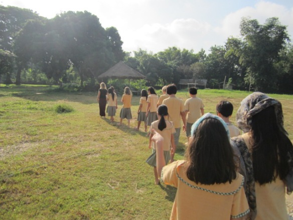 Leading my students on a walking meditation.