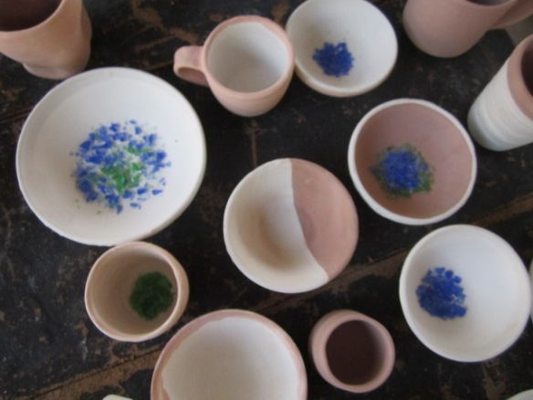 Here are some of my ceramic pieces, glazed but not fired.