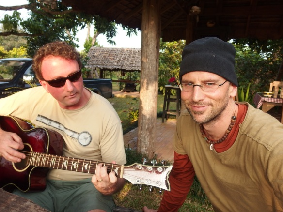 Dan and PJ jamming silly songs in Chiang Dao.