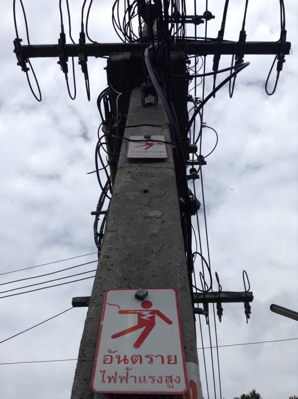 It's nice they have a danger warning on this sign, but honestly, this looks more organized than most of the wiring in Chiang Mai
