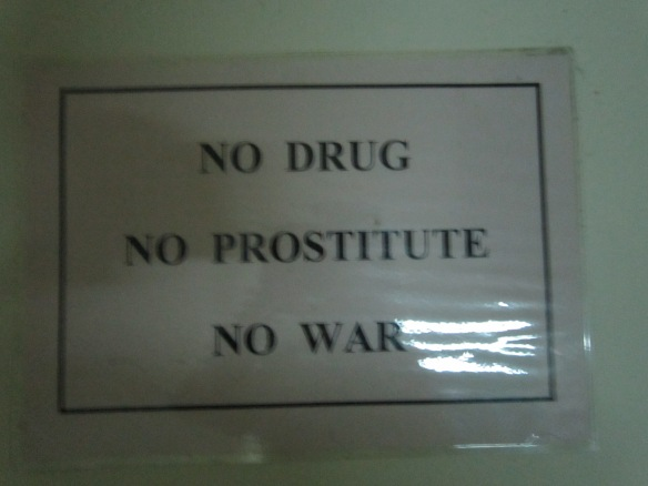 At another guesthouse...man, they just don't allow anything