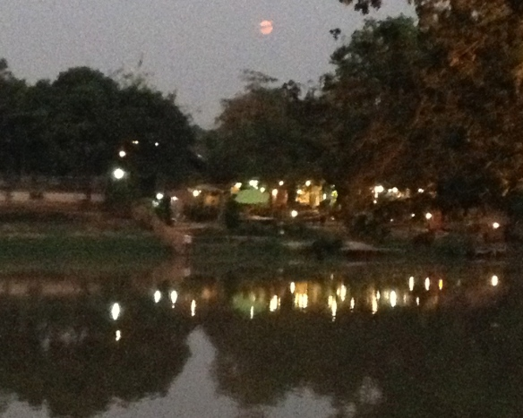 Pink full moon over the Ping river. March 16th.