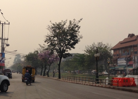 The south side of the moat near Chiang Mai Gate. Smog of March 21, 2014.