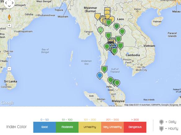 AQI - Air Quality Index, Thailand. March 22, 2014