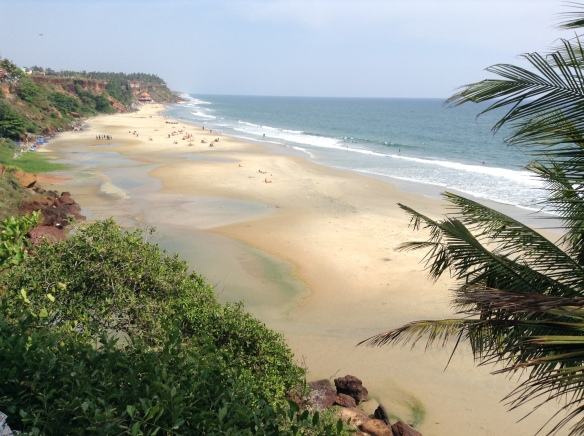 View of Varkala beach from the cliff.