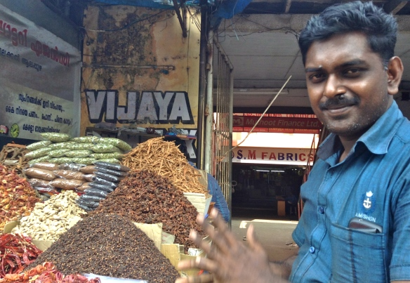 Though there were many place to buy spices in Alleppey, this guy was just terrific at his job.