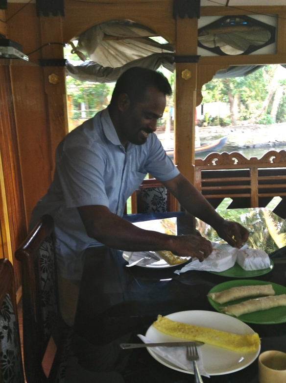 I arose to our boat starting and chef having another huge meal for us.