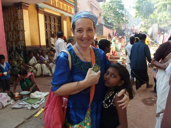 Esther, my guesthouse owner and her neighbor. I was grateful for her invitation to the puja festival.