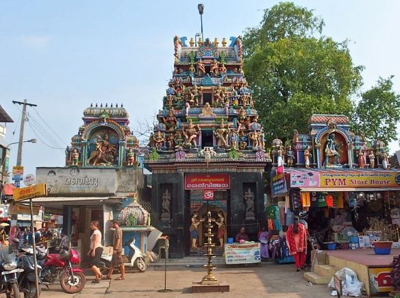 Hindu temple in Alleppey amongst the chaos