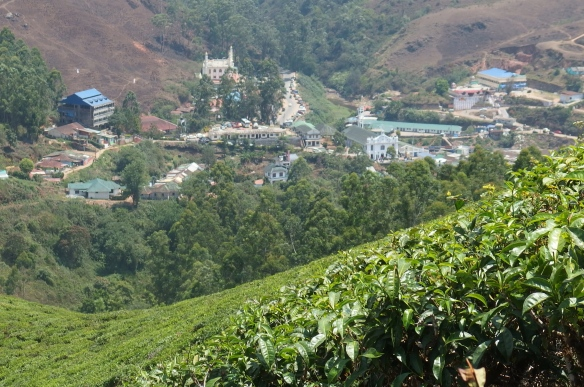 This is old Munnar. It's hard to see, but there is a Christian church, a Hindu temple, and a mosque all at the same altitude. Religious diversity and acceptance at its best.
