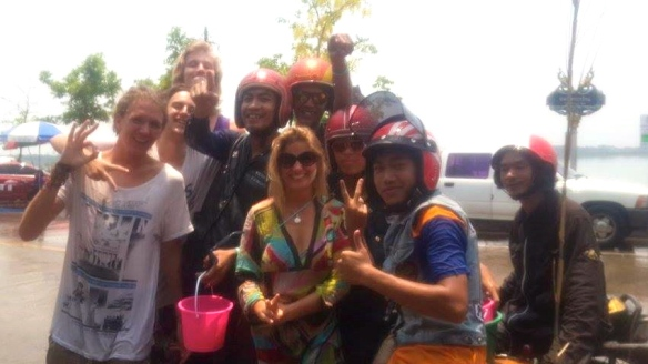 These were some of the first Songkran revelers we met