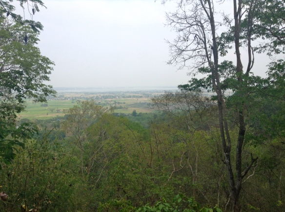 A hazy view from atop Wat Analayo out toward the lake in Phayao