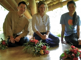 Teachers with their wai kru flowers