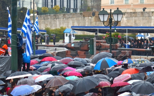 Airing out the tanks on a rainy Greek Independence Day - March 25, 2015.