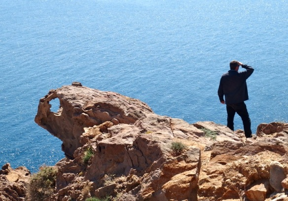 Jeremy contemplating the deep blue sea