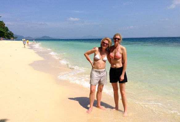 Dory and Wendy on an amazing beach off Ko Lanta.