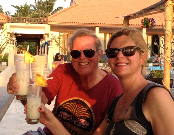 Piña colada happy hour with Dad at Peace Paradise Beach Resort.