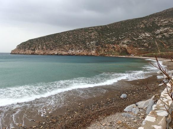 The beach in Apollon just before the rain.