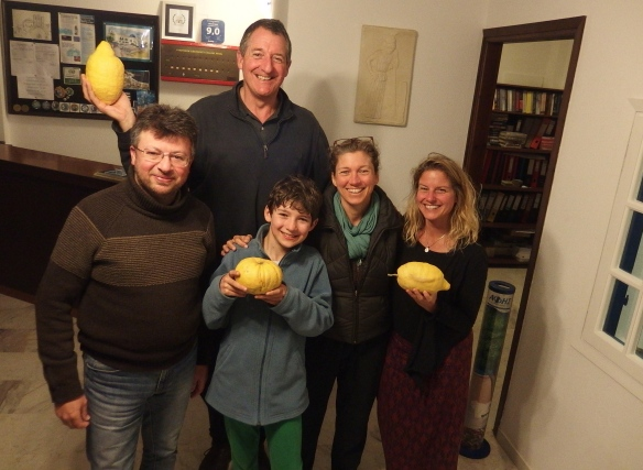 Stamatis, the kind owner of the Adonis Hotel in Apollon, and enormous lemons...