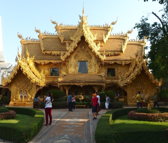 ...and the elaborate golden building for the toilets.