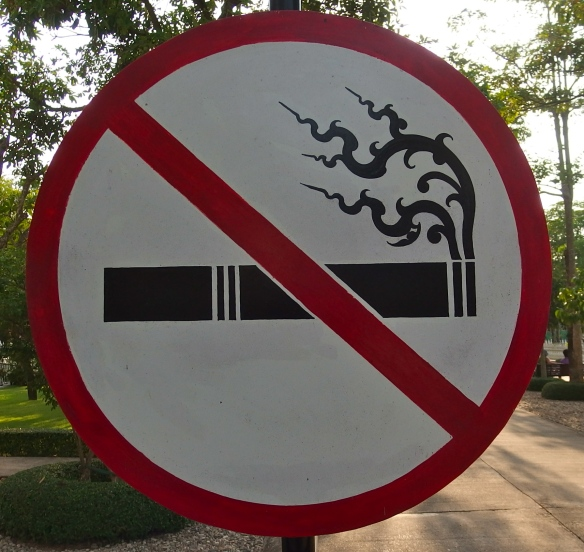 Wat style no smoking sign
