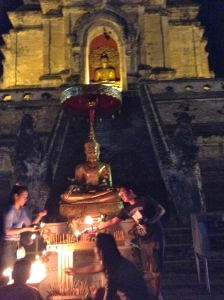 Lighting the candles and incense and giving the flower offerings after wian tian.